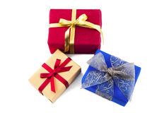 Colorful gift boxes with bows and ribbons isolated in white Royalty Free Stock Photos
