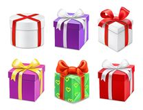 Colorful gift boxes with bows and ribbons. Vector icons set. Colorful gift boxes with bows and ribbons. Vector illustration set Stock Image