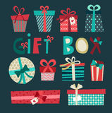 Colorful gift boxes with bows and ribbons vector set. Gift boxes Royalty Free Stock Images