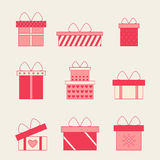 Colorful gift boxes with bows and ribbons vector set. Gift boxes vector icons. Set of vector christmas gift box. Valentine box . Christmas and birthday gift Royalty Free Stock Photo
