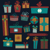 Colorful gift boxes with bows and ribbons vector Royalty Free Stock Images