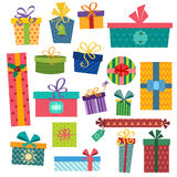Colorful gift boxes with bows and ribbons vector Royalty Free Stock Photo