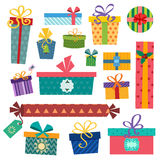 Colorful gift boxes with bows and ribbons vector Stock Photos