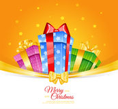 Colorful gift boxes with bows Royalty Free Stock Photo