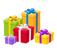 Colorful gift boxes with bows. Vector illustration. Stock Images