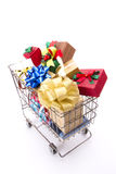 Colorful gift boxes cart Stock Images