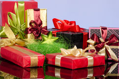 Colorful gift boxes and christmas arrangement Stock Photography
