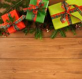 Colorful present boxes for any holiday on wooden background Stock Photo