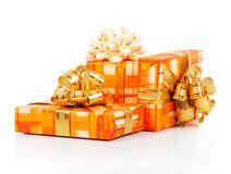 Colorful gift boxes with gold ribbon Royalty Free Stock Photo