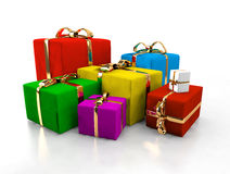 Colorful gift boxes isolated Stock Photography