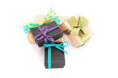 Colorful gift boxes over white background Royalty Free Stock Photos