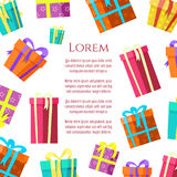 Colorful gift boxes poster design royalty free illustration
