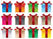 Colorful gift boxes with red ribbons Royalty Free Stock Image