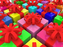 Colorful gift boxes with red ribbons. In background stock illustration
