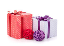 Colorful gift boxes with ribbon and bow and christmas decor Royalty Free Stock Photo