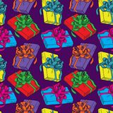 Colorful gift boxes with ribbon. Different gift boxes with ribbon, hand drawn doodle sketch color illustration, seamless pattern design on blue background stock illustration