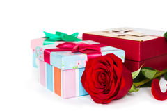 Colorful gift boxes and rose Stock Photos