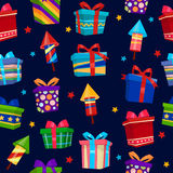 Colorful Gift Boxes Seamless Pattern. Vector illustration Stock Image