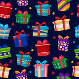 Colorful Gift Boxes Seamless Pattern. Vector illustration Stock Photo