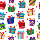 Colorful Gift Boxes Seamless Pattern. Vector illustration Stock Photography
