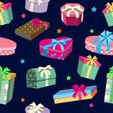 Colorful Gift Boxes Seamless Pattern. Vector illustration Royalty Free Stock Photo