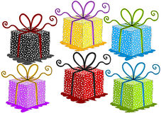 Colorful gift boxes set royalty free stock photos