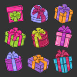 Colorful gift boxes set. Vector Royalty Free Stock Photography