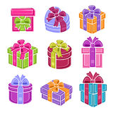 Colorful gift boxes set. Vector Royalty Free Stock Image