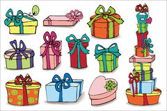 Colorful gift boxes with shadow.Doodle set Royalty Free Stock Photo