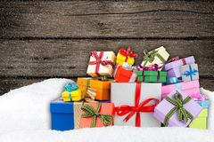 Colorful gift boxes in snow Stock Image
