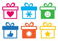 Colorful gift boxes with symbols. Vector illustration vector illustration