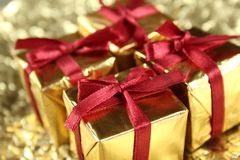 Colorful gift boxes tied with ribbons Royalty Free Stock Photo
