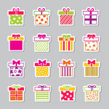 Colorful gift boxes vector icons set Royalty Free Stock Photo