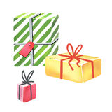 Colorful gift boxes on white background. Vector illustration of the colorful gift boxes on white background Royalty Free Stock Image