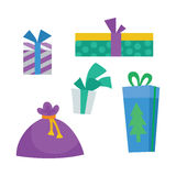 Colorful Gift Boxes on White. Christmas Presents Royalty Free Stock Images