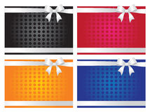 Colorful gift cards with ribbons Stock Photography