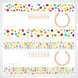 Colorful Gift certificate (Voucher) template. Voucher, Gift certificate template with colorful (bright, rainbow) abstract background design. Background usable Stock Photos