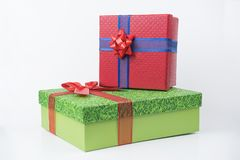 Colorful gift packages, new year, Valentine`s day. Royalty Free Stock Image