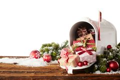 Colorful gift-wrapped Christmas presents stock images
