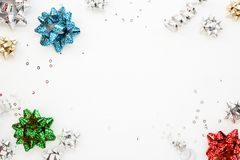 Colorful gift wrapping bows on white Royalty Free Stock Photos