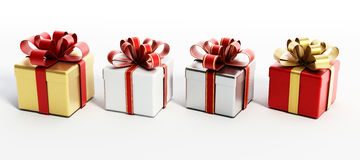 Colorful giftboxes  on white background. 3D illustration Stock Image