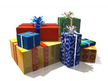 Colorful gifts. 3d render of a group of colorful gifts Royalty Free Stock Photo