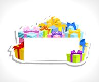 Colorful gifts with blank card Royalty Free Stock Images