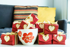 Colorful gifts box with heart card on table. Colorful gifts box with heart card on the table Royalty Free Stock Image