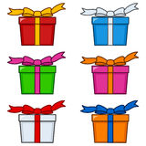 Colorful Gifts with Ribbon & Bow Set Royalty Free Stock Image