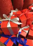 Gifts with colorful ribbon for sale Stock Photography