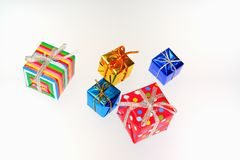 Colorful gifts with shining ribbons Stock Photography