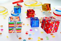 Colorful gifts with shining ribbons Royalty Free Stock Photography