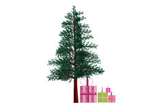 Colorful gifts under christmas tree. Illustration of colorful gifts under christmas tree, isolated on white Stock Photography