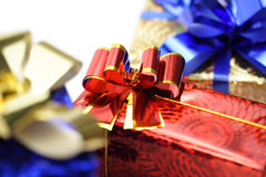 Colorful gifts on white Stock Image